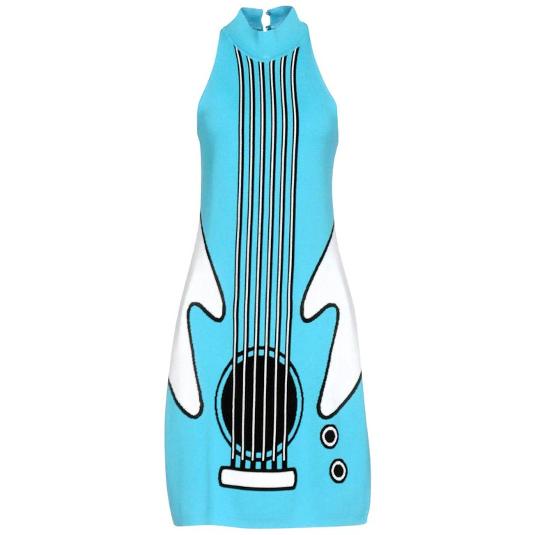 New Jeremy Scott (from Moschino ) 2016 Runway Katy Perry Blue Guitar Dress IT44 For Sale