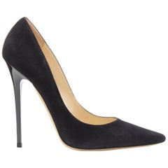 new JIMMY CHOO Anouk 120 black suede pointy toe pigalle stiletto pump EU38