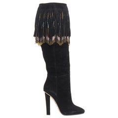 new JIMMY CHOO Bill black suede leather bohemian beaded fringe tall boots EU35.5