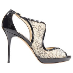 new JIMMY CHOO black patent floral lace nesh cut out platform sandals EU38