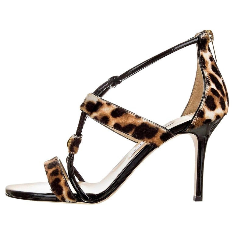 New Jimmy Choo Calf Hair Leopard & Patent Leather Heels Pumps Sz 37 For Sale