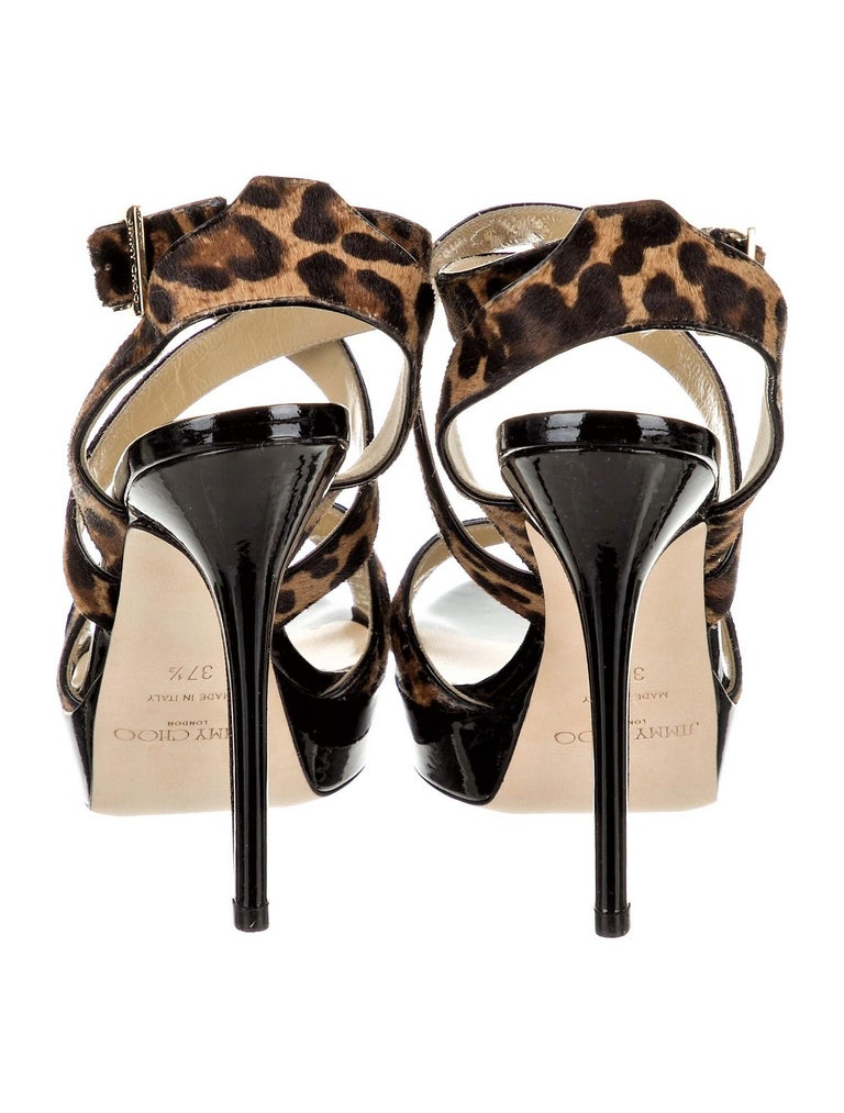 Black New Jimmy Choo Calf Hair Leopard & Patent Leather Heels Pumps Sz 37.5 For Sale
