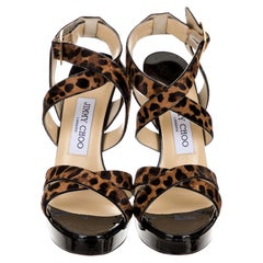 New Jimmy Choo Calf Hair Leopard & Patent Leather Heels Pumps Sz 37.5