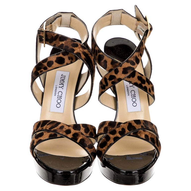 New Jimmy Choo Calf Hair Leopard & Patent Leather Heels Pumps Sz 37.5 For Sale