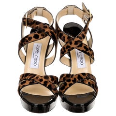 New Jimmy Choo Calf Hair Leopard & Patent Leather Heels Pumps Sz 37.5