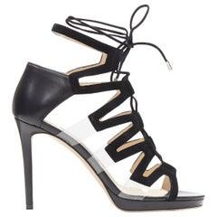 new JIMMY CHOO Dani 100 black suede PVC insert lace up platform sandals EU38