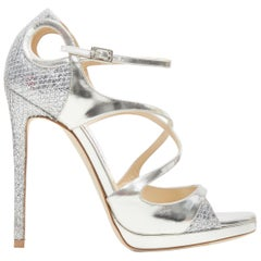 new JIMMY CHOO Fancie 120 silver strappy glitter bridal platform sandals EU38
