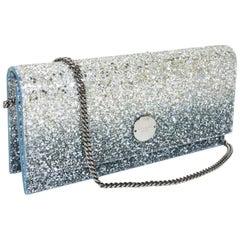 New Jimmy Choo *Fie* Silver and Dusk Blue Glitter Degrade Clutch Small Bag