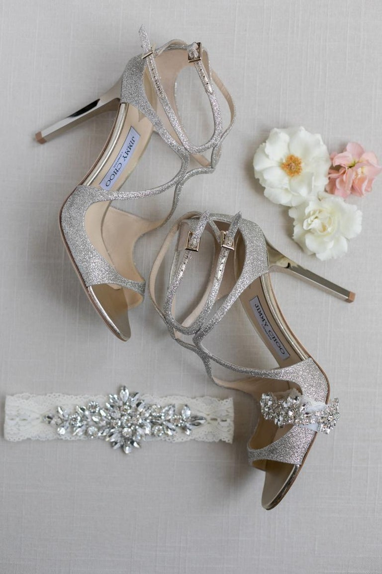 New Jimmy Choo Glitter  Heels Pumps Sz 39.5 In New Condition For Sale In Leesburg, VA