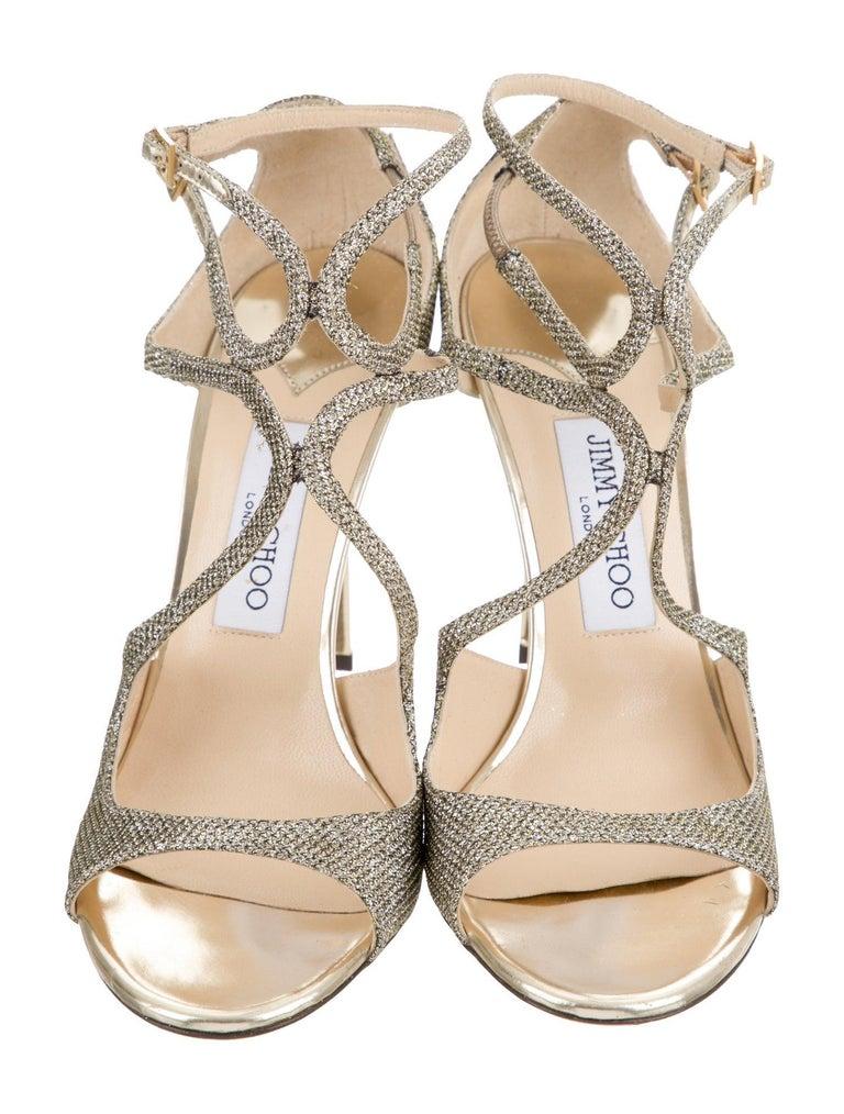 Women's New Jimmy Choo Glitter  Heels Pumps Sz 39.5 For Sale