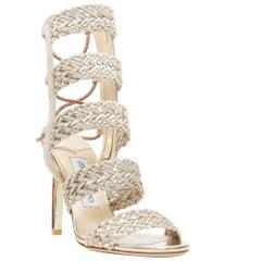 new JIMMY CHOO Lima 100 light gold grey suede braided strappy heel sandal EU36