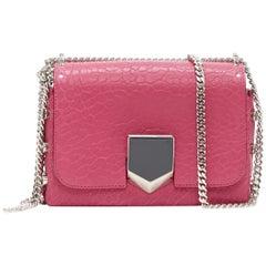 new JIMMY CHOO Lockett Petite fuschia pink tumbled leather buckle shoulder bag