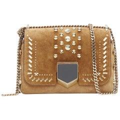 new JIMMY CHOO Lockett Petite tan suede gold studded clasp flap shoulder bag