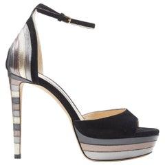 new JIMMY CHOO Max 120 black suede silver graphic layered platform sandals EU37