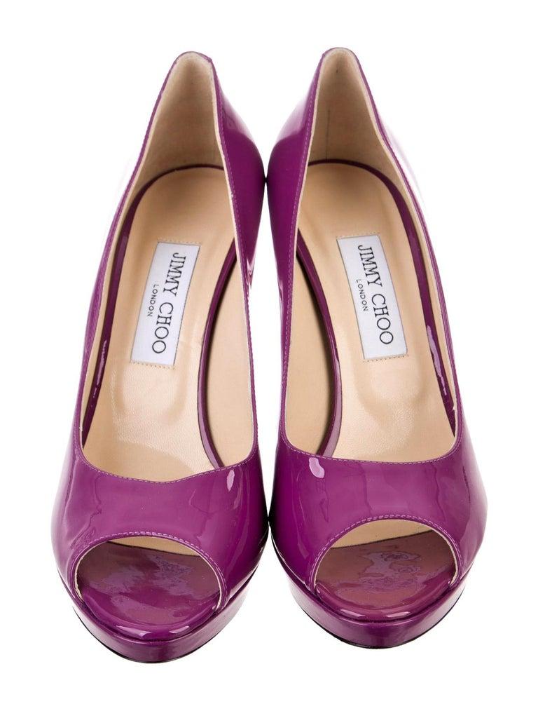 Brand New Stunning Jimmy Choo Heels Gorgeous High Shine Patent  Plum Peep Toe Size: 39.5 Heel 4.5