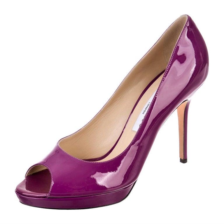 Women's New Jimmy Choo Patent Leather Heels Platform Pumps Sz 39.5 For Sale
