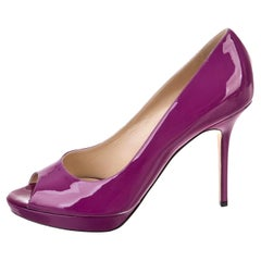 New Jimmy Choo Patent Leather Heels Platform Pumps Sz 39.5