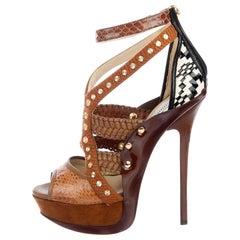 New Jimmy Choo Python Khloe Kardashian Heels Platform Pumps Sz 37.5