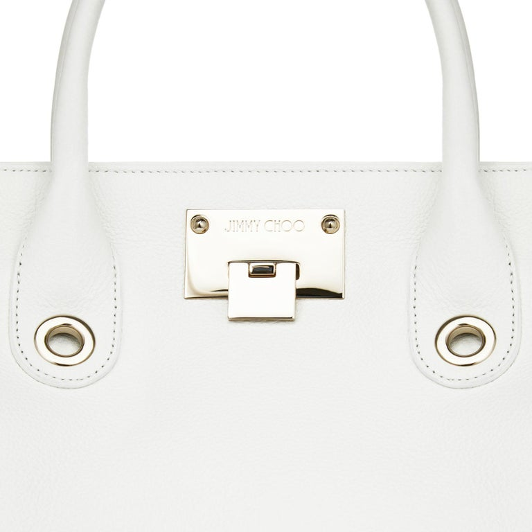 New Jimmy Choo *Riley* White Grainy Calf Leather Tote Cross-body Large Bag In New Condition For Sale In Montgomery, TX