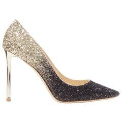 new JIMMY CHOO Romy 100 black gold gradient course glitter point toe pump EU37.5