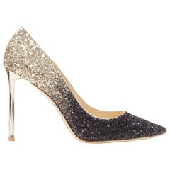 new JIMMY CHOO Romy 100 black gold gradient course glitter pointy toe pump EU37