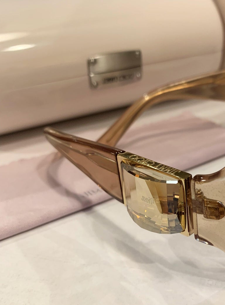 New Jimmy Choo Swarovski Sunglasses With Case & Box  In New Condition In Leesburg, VA
