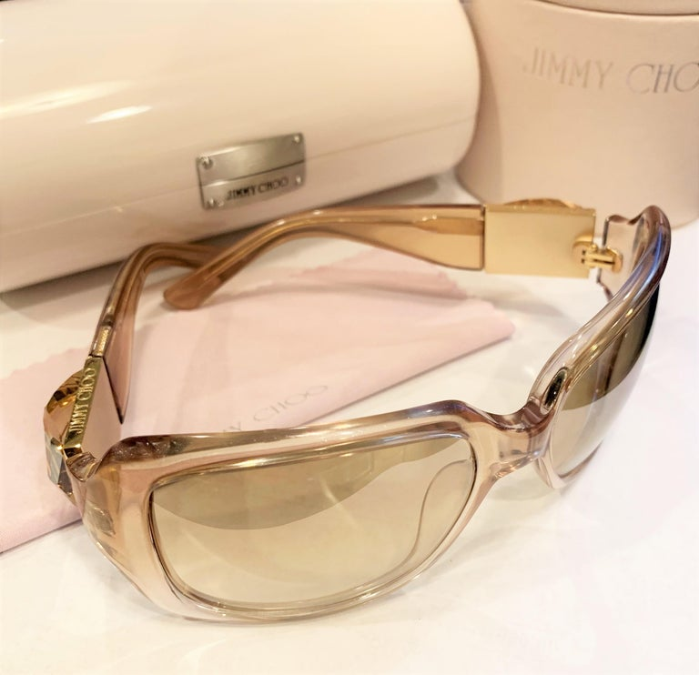 Women's New Jimmy Choo Swarovski Sunglasses With Case & Box