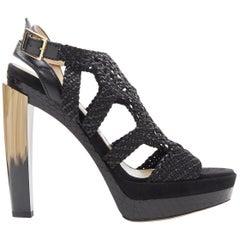 new JIMMY CHOO Taytum 130 black braided leather horn heel platform sandal EU38