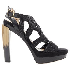new JIMMY CHOO Taytum 130 black woven leather curved heel platform sandal EU39