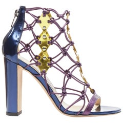 new JIMMY CHOO Tickle metallic navy purple knotted gold geometric sandal EU37