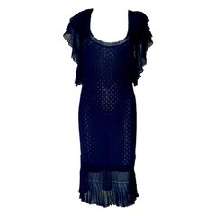 NEW John Galliano Black Crochet Knit Ruched Dress