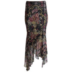 New John Galliano Floral Embroidery Print Silk Floaty Asymmetric Chiffon Skirt