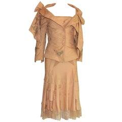 NEW John Galliano Iconic Newspaper Print Silk Tulle Lace Skirt Dress Jacket Suit