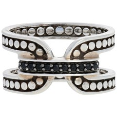 John Hardy Sterling Silver Black Sapphire Ring, 925 Dot Band