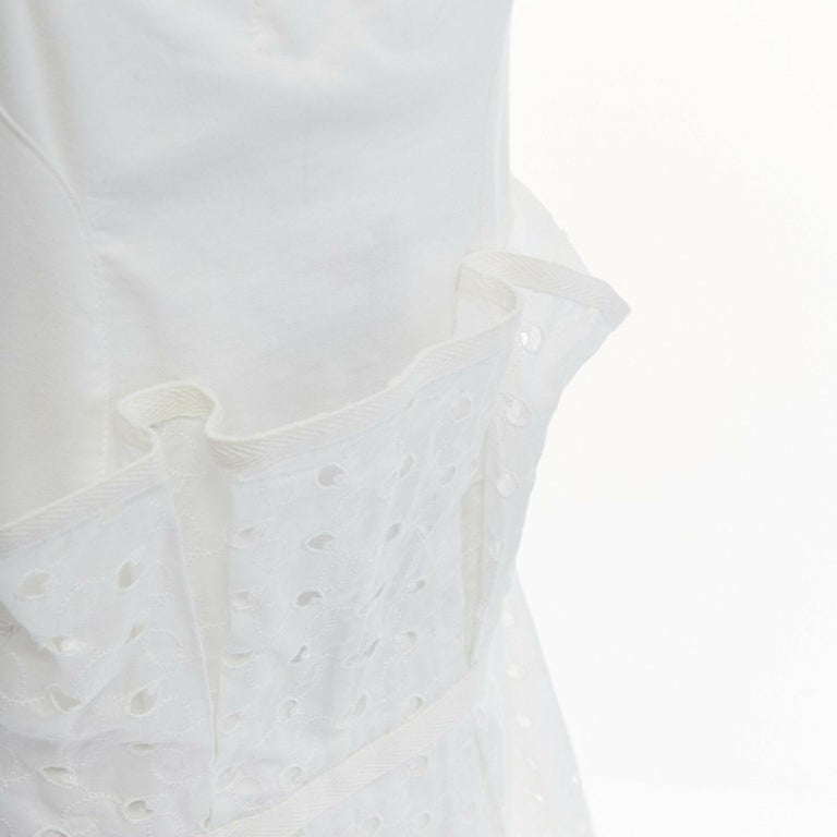 new JUNYA WATANABE 2011 white embroidery anglais open draped front vest dress S For Sale 5