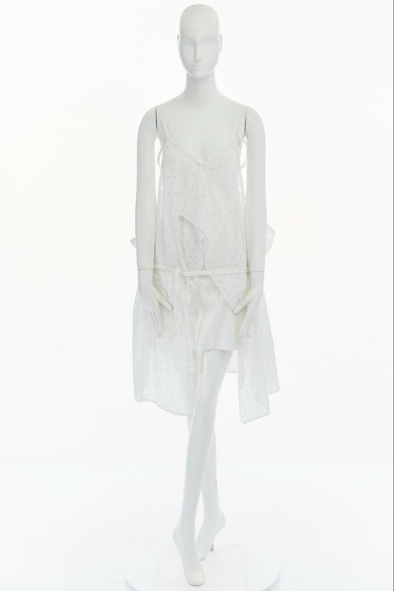 new JUNYA WATANABE 2011 white embroidery anglais open draped front vest dress S In Good Condition For Sale In Hong Kong, NT