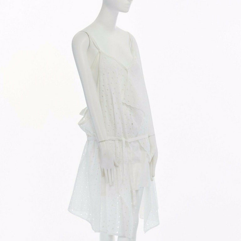 Women's new JUNYA WATANABE 2011 white embroidery anglais open draped front vest dress S For Sale