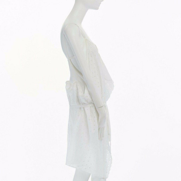 new JUNYA WATANABE 2011 white embroidery anglais open draped front vest dress S For Sale 1