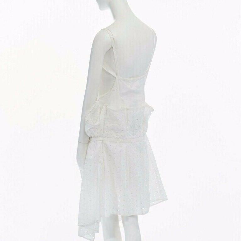 new JUNYA WATANABE 2011 white embroidery anglais open draped front vest dress S For Sale 2