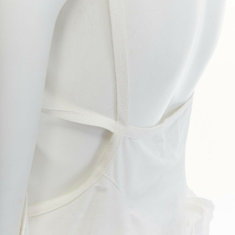 new JUNYA WATANABE 2011 white embroidery anglais open draped front vest dress S For Sale 4