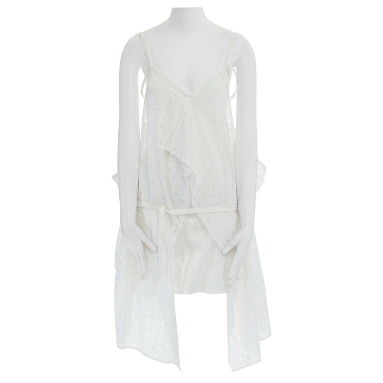 new JUNYA WATANABE 2011 white embroidery anglais open draped front vest dress S For Sale