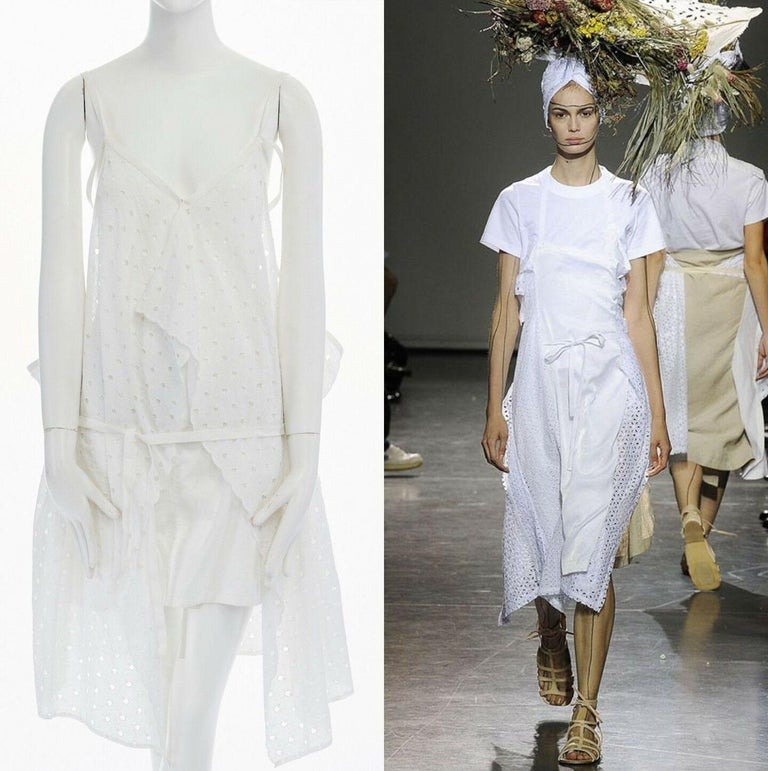 new JUNYA WATANABE 2011 white embroidery anglais open draped front vest dress S  JUNYA WATANABE SIMILAR STYLE ON 2009 RUNWAY, RE-PRODUCTION IN 2011 Cotton. White. Embroidery anglais. Draped open front. Single hook eye closure at front. Button zip