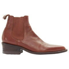 new JUNYA WATANABE brown leather pointed toe western ankle boot XS EU36