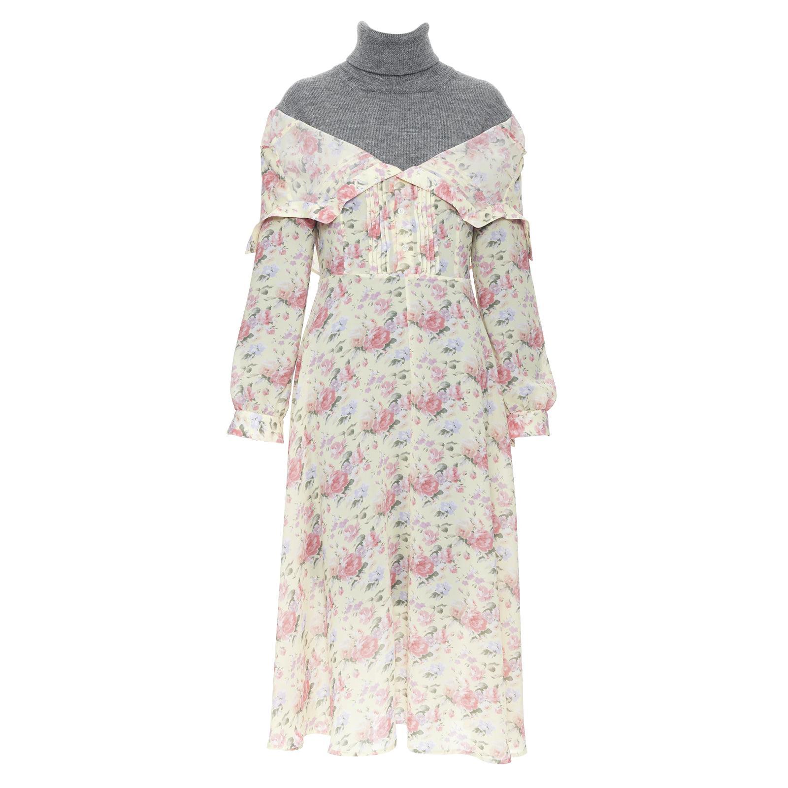 new JUNYA WATANABE CDG AW18 Runway grey wool turtleneck yellow floral dress S