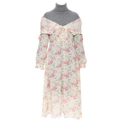 new JUNYA WATANABE CDG AW18 Runway grey wool turtleneck yellow floral dress XS