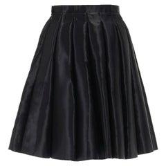 new JUNYA WATANABE Runway AW16 black structured satin pleated flared skirt M