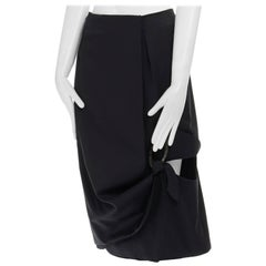 """new JW ANDERSON SS15 black draped horn buckle cut out draped skirt UK6  S 27"""""""