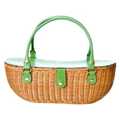 New Kate Spade Collectible Spring 2005 Large Green Wicker Basket Bag