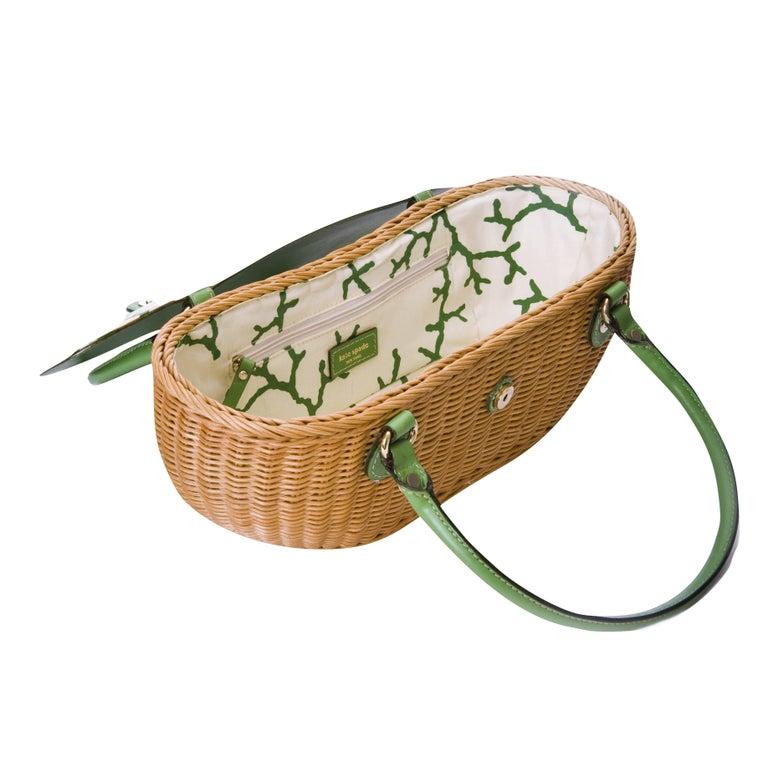 New Kate Spade Green Wicker Basket Bag
