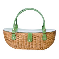 New Kate Spade Her Spring 2005 Collection Large Green Wicker Basket Bag